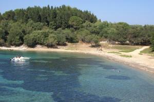 Strand auf der Insel Vidos, Korfu, Griechenland in der Nähe der Korfu Ferienwohnung in Korfu Stadt, KorfuCorfu.de