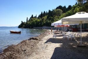 Strand von Mon Repos, Korfu, Griechenland in der Nähe der Korfu Ferienwohnung in Korfu Stadt, KorfuCorfu.de